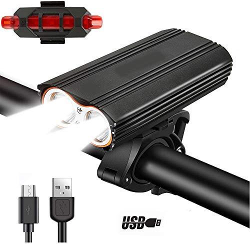 Fahrrad-Licht-USB-Lade 2400 Lumen 4 Modi Fahrrad Lampe Festbügel Wasserdicht Lange Lebensdauer der Batterie 2 LED T6 Fahrrad Scheinwerfer mit Rückleuchten