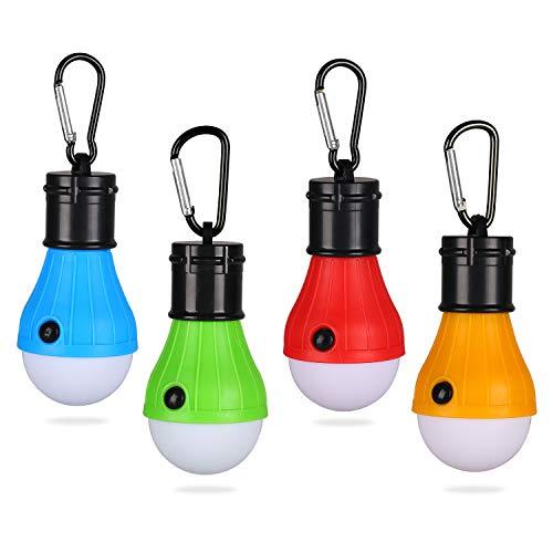 Yizhet LED Campinglampe Zeltlampe Glühbirne Set-Notlicht mit Karabiner Wasserdicht Tragbare Zeltlampe Glühbirne Set für Camping, Abenteuer, Angeln (Blau+Grün+Rot+Orange)
