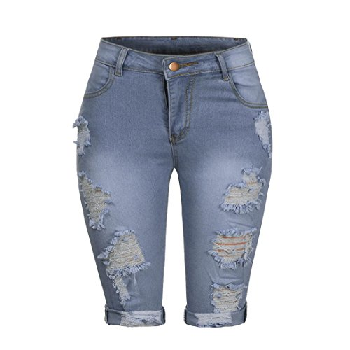 Rambling New Womens Summer Casual Denim Ripped Destroyed Bermuda Shorts Jeans Pants(S-3XL)
