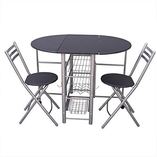 CARRARIA Comedor Plegable Mesa con 2 sillas Plegables Estaciones de Trabajo Table Desayunador Mesa Comedor Plegable