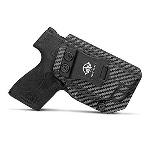 M&P Shield 9mm Holster, Carbon Fiber Kydex Holster IWB for Smith & Wesson M&P Shield 9mm .40 M2.0 S&W Pistol Case, with Integrated Laser, Concealed Holster M&P Shield 9mm with Laser (Black, Right)