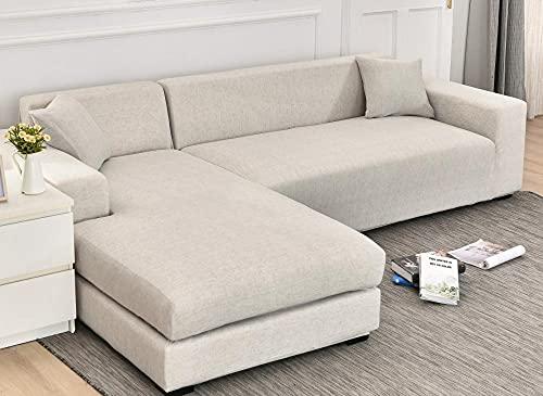 Funda Sofas 2 y 3 Plazas Moda Beige Fundas para Sofa con Diseño Universal,Cubre Sofa Ajustables,Fundas Sofa Elasticas,Funda de Sofa Chaise Longue,Protector Cubierta para Sofá