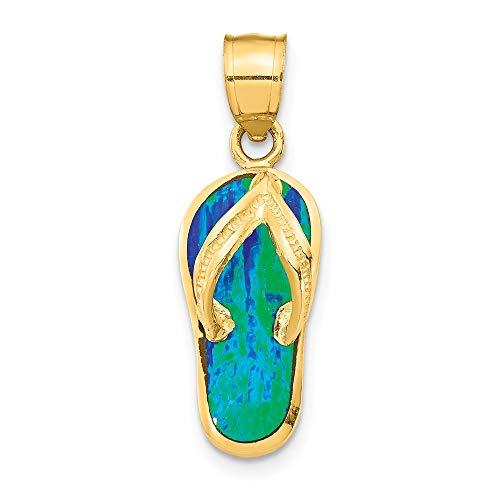 Saris and Things 14k gelbgold poliert w/erstellt blue opal flip flop anhänger