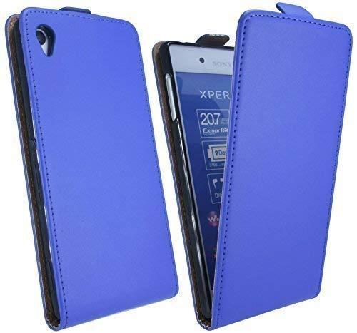 ENERGMiX Klapptasche Schutztasche kompatibel mit Sony Xperia Z3+ (Z3 Plus) in Blau Tasche Hülle