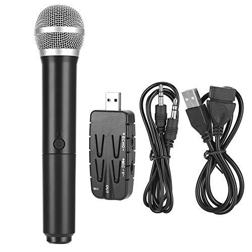 Aiwend Micrófono inalámbrico, Sistema de Karaoke de micrófono dinámico de Mano Dual de Metal UHF, micrófono inalámbrico Inteligente Profesional USB3.0, para Escritorio/computadora portátil/TV/Audio