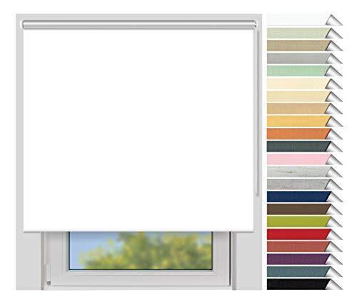 EFIXS Thermorollo Medium - Maßanfertigung - 25 mm Welle - Farbe: Weiss (051) - Stoffbreite bis 80 cm - Höhe bis 150 cm - Hitzeschutzrollo - Verdunklungsrollo