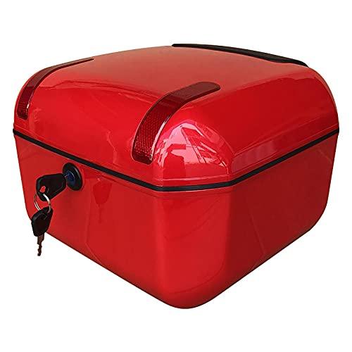 BaúL Exterior Blanco, Carcasa De ABS, Luz De Advertencia Roja, Almacenamiento De Gran Capacidad, Desmontaje Y Montaje con Una Sola Tecla, BaúL Moto 33 * 34 * 23 Cm 3