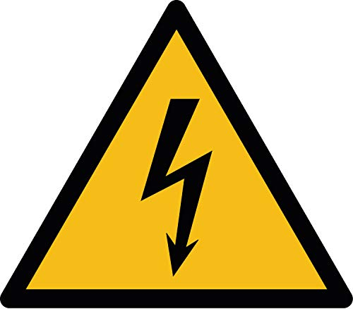 W012 Warnzeichenaufkleber | Warnung vor gefährlicher elektrischer Spannung | Selbstklebend Folie für Betriebe, Produktion & Kliniken | 10 Stück 70 mm | PlottFactory