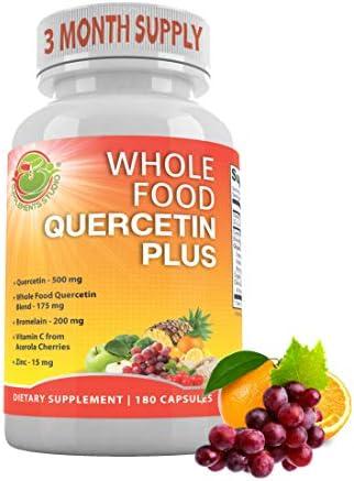 Organic Whole Foods Quercetin with Bromelain Zinc Vitamin C Ginger Bioflavonoids Immune Cardiovascular product image
