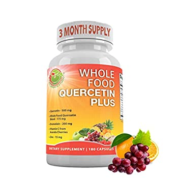 Supplements Studio Quercetin with Bromelain-Zinc-Vitamin C-Ginger-Bioflavonoids Organic Whole Foods Immune Cardiovascular & Respiratory System Support Natural Antioxidant Vegan Non-GMO,180 Caps