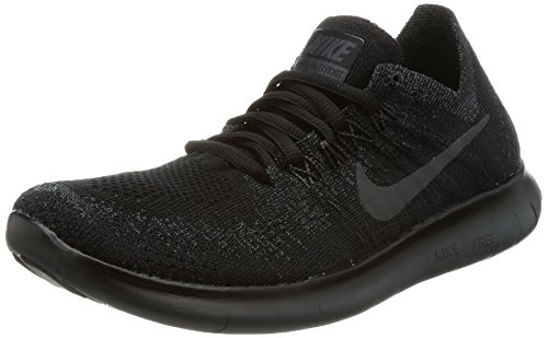 Nike Women's Free RN Flyknit 2017 Running Shoe Black/Anthracite-Anthracite 6.5