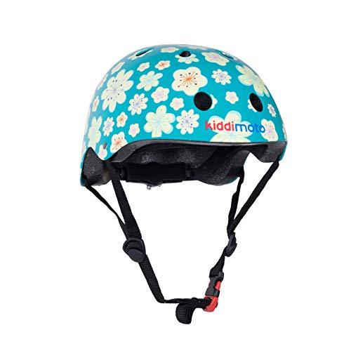 KIDDIMOTO Fahrrad Helm für Kinder - CE-Zertifizierung Fahrradhelm - Design Sport Helm für Skates, Roller, Scooter, laufrad - Fleur - M (53-58cm)