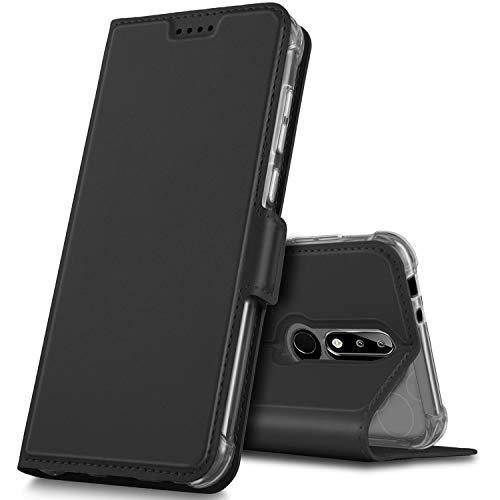 GeeMai Nokia 5.1 Plus Hülle, Nokia 5.1 Plus Leder Hülle Flip Case Tasche Cover Hüllen mit Magnetverschluss [Standfunktion] Schutzhülle Handyhülle für Nokia 5.1 Plus Smartphone, Schwarz