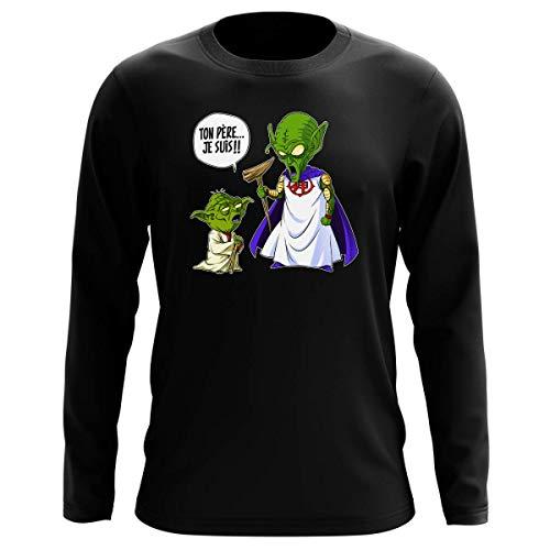 T-Shirt Manches Longues Noir Parodie Dragon Ball Z - Star Wars - Yoda et Le Tout Puissant - Ton père, Je suis. !! (T-Shirt de qualité Premium de Taille M - imprimé en France)