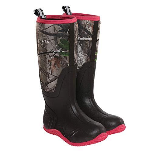 HISEA Women's Rubber Rain Boots Waterproof Mid Calf
