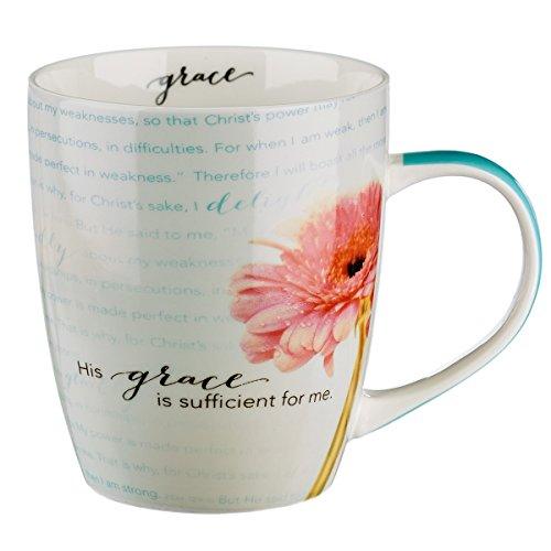 "Bible Verse Mug for Women & Men | Chrysanthemum Scripture Mug w/Pink Flowers – ""Sufficient Grace"" 2 Corinthians Mug 12: 9-10 | Inspirational Coffee Cup & Christian Gift (12 oz Ceramic Cup)"