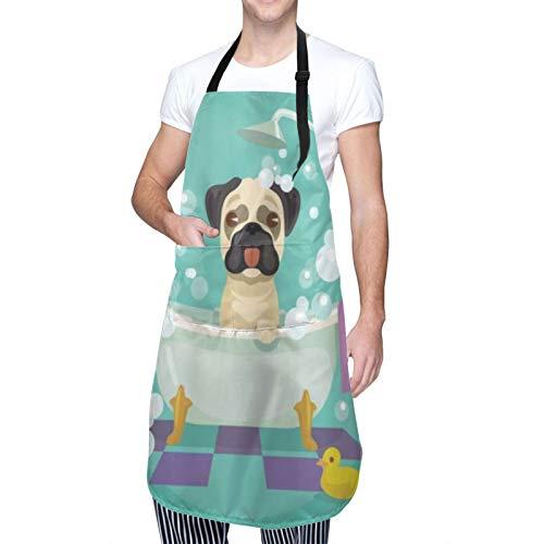 COFEIYISI Delantal de Cocina Perro Pug en la bañera Aseo Perrito Cachorro Salón Champú Pato de goma Mascotas Dibujos animados Delantal Chefs Cocina para Cocinar/Hornear