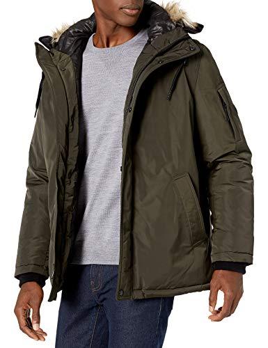 Calvin Klein Men's Classic Parka Jacket with Faux Fur Hood, Moss, Medium