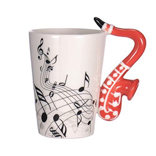 dxjsf Kaffeebecher 10,1 Unzen Musical Notes Design Gitarren-Kaffeetassen Getränk Tee Milch Kaffee Tasse Keramik Musik Cup Geschenk for Freund Gitarristen Musiker Personalisierte Tassen (Color : K)