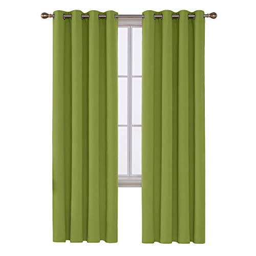 Deconovo Room Darkening Grommet Window Bedroom 1 Panel Insulated Thermal Blackout Curtain, 52x95 Inch, Lime Green