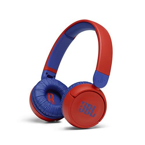 JBL JR310BT – Casque sans fil avec micro pour enfants – Léger, confortable et pliable – Avec volume limité à 85 dB – Autonomie de 30 hrs – Livré avec un jeu d'autocollants – Rouge