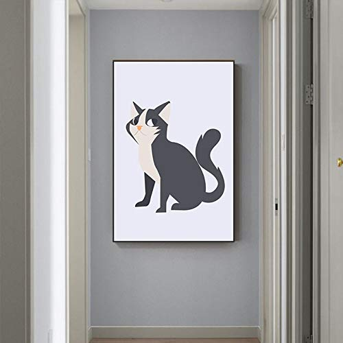 yaoxingfu Sin Marco Cartoon Black Yellow Witch Cat Kitten Canvas ng Pet Poster and Print Cute Art Wall Pictures for Living Room 60x90cm