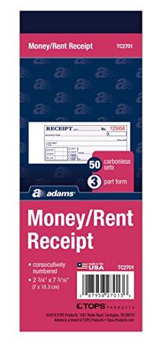 Adams dinero/alquiler libro de recibos, Papel autocopiante, 3piezas, 2–3/4x 7–3/16pulgadas, 50juegos por libro (tc2701)
