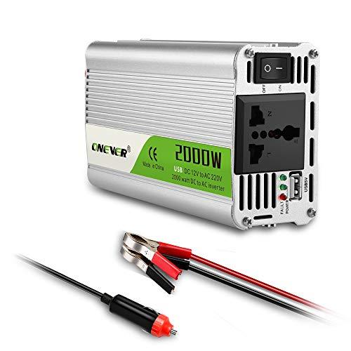 ONEVER Inversor de Corriente Onda Sinusoidal Pura-2000 Vatios 12V DC a 220V AC Convertidor 2.1A Cargador USB Compatible con Control Inteligente de Temperatura