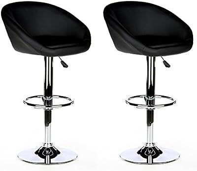 hjh OFFICE 685500 MELLOW Taburete de bar (2 taburetes/paquete doble), piel sintética negro cromado