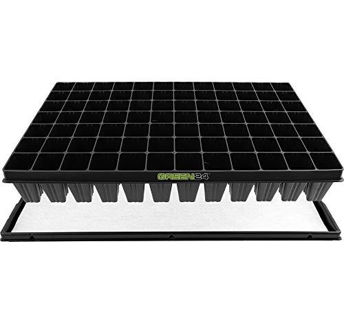 GREEN24 Anzucht-Set 84-PRO - automatische Bewässerung. 84er Topfplatte + Wasserwanne + Kapillarmatte für die Vermehrung aus Samen oder Anzucht von Stecklingen und Jungpflanzen