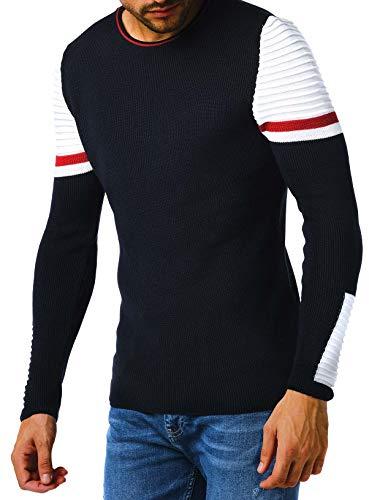 Leif Nelson Pull en tricot pour homme avec col rond - Pull en tricot fin pour l'hiver - Col rond - Slim fit - Manches longues - Col rond - LN1980 - Bleu - XX-Large