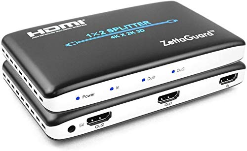 ZettaGuard 4K 1x2 HDMI Splitter 1 in 2 Out Digital 1 x 2 HDMI Splitters Signal Distributor with Full HD 4K x 2K, 3840 × 2160, 3D Support(One Input to Two Outputs)