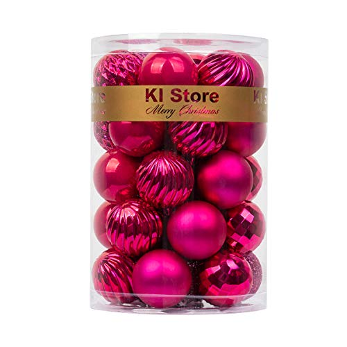 KI Store 34ct Christmas Ball Ornaments 1.57' Small Shatterproof Christmas Decorations Tree Balls for Holiday Wedding Party Decoration, Tree Ornaments Hooks Included (Hot Pink, 1.57-Inch)