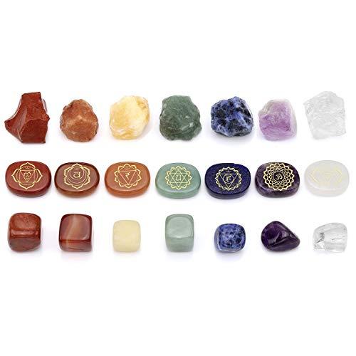CrystalTears 7 Chakra Steine Dekor Reiki Healing Edelsteine Chakren Schmuck Kristall Holistic Balancing Deko Set