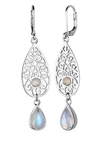 Elli Mujer Pendientes de piedras preciosas Ornament gota piedra de luna 925plata blanco–0301512315
