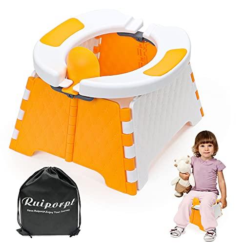 Ruiporpt Asiento de entrenamiento portátil para viajes, orinal para niños pequeños, asiento de inodoro plegable, asiento de inodoro para bebés y niños pequeños, para interior y exterior (naranja)