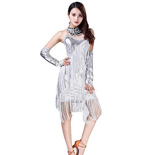 Uiophjkl Latin Dancewear Vrouwen Dancewear Backless Fringe Kwastjes Ballroom Samba Tango Latin Dance Jurk Competitie Kostuums Faux Lederen Sway Flapper Cocktail Jurk (Kleur: Zilver, Maat : Een maat)