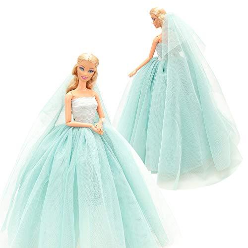 Miunana Abendkleid Ballkleid Prinzessin Kleidung Dress Kleider Kleid mit Brautschleier für 11,5 Zoll Mädchen Puppen Weihnachten Party Geschenke Xmas (Blau)