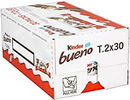 Kinder Bueno Bars, Box of 30 Chocolate, Hazelnut & Wafer Bars