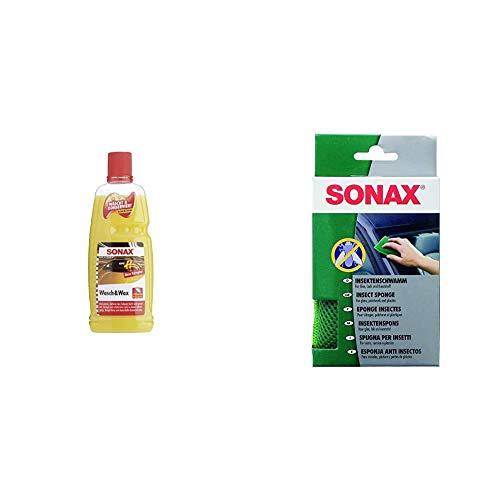 SONAX Wasch & Wax (1 Liter) gründliche Schmutzentfernung und dauerhafter Schutzfilm aus natürlichem Carnauba-Wachs & InsektenSchwamm (1 Stück) zur Entfernung von Insekten und Anderen Verschmutzungen