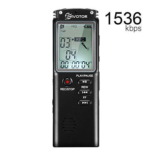 EIVOTOR 8GB Registratore Vocale Digitale Portatile 1536 Kbps Supporta...