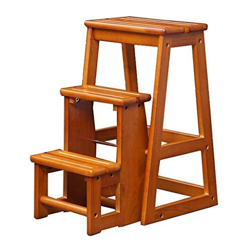 GUOXY Multifunktions-Transformstufenleiter Folding Stufenleiter 3 Stufen Hocker/Ladder Hocker Aus Holz Treppe Ladder Erweiterte Stufenleiter Intensive Heavy Duty Verwenden Max 150 Kg,Holz,Holz