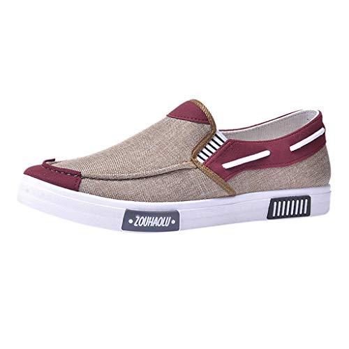 DAIFINEY Herren Mokassin Slipper Segelschuhe Canvas Sneaker Leichte Comfort Schuhe Slip On Loafer Weich Flache Hausschuhe Fahrschuhe Freizeitschuh Hüttenschuhe Bequem Schlupfschuh(1-Beige/Khaki,40)
