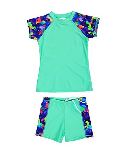 iDrawl Grün Kurzarm Schwimmen Set Kinder UPF 50+ Schnelltrocknendes Rash Gurad Stretch,Größe S