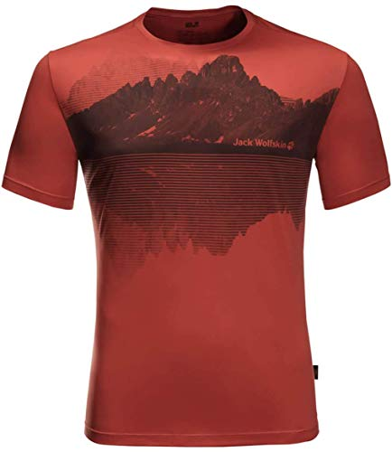 Jack Wolfskin Herren Peak Graphic T-Shirt, Mexican Pepper, M