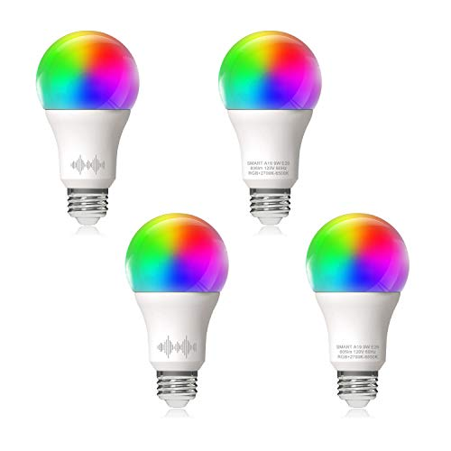 Bombilla LED inteligente A19 equivalente a 60 W RGB+2700 K-6500 K, 4 unidades