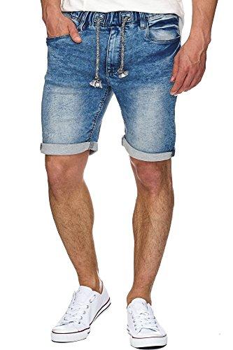 Indicode Herren Kadin Sweatshorts mit 5 Taschen aus 82% Baumwolle | Kurze Hose Used-Look Shorts mit Denim-Optik Sommerhose Short Sweat Pants Jeans-Look Freizeithose für Männer Denim Blue 3XL