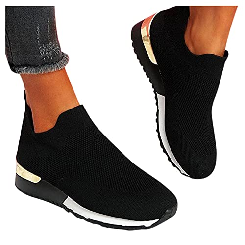 SOFIALXC Walking Shoes for Women Slip On,Canvas Shoes Casual Round Toe Sneakers Hollow Flat Running Shoes Loafers