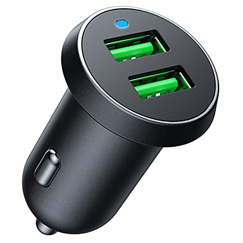 Cargador de Coche con Doble USB Puerto QC3.0 30W Mini Cargador Móvil 5V/4A Adaptador Automóvil para iPhone 11/11 Pro Max/XS Max/XS/XR/X, iPad Pro,Samsung Galaxy S10 S9, LG, Huawei y más
