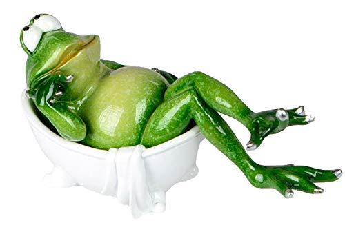 dekojohnson - decoratieve kikkerfiguur grappig kikker sierfiguur in de badkuip trendy grappig 19 x 15 x 5 cm incl. cadeaukaart